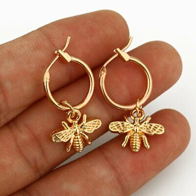 Fashion Titanium Steel Moon Bee Earrings Silver Gold Stud Party Charm Women Gift