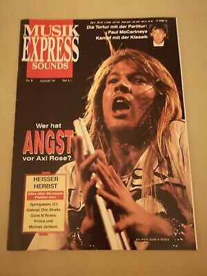 Musik Express Sounds Zeitschrift 1991 Nr. 8 (Guns N Roses, Paul McCartney, U2)