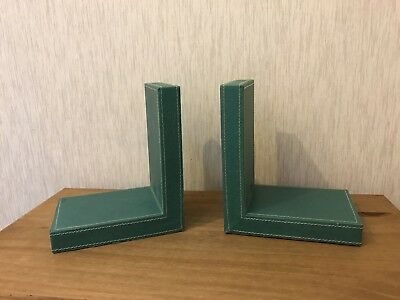 Teal Leather Look Bookends VGC