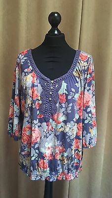 Women's Marks & Spencer Pretty Gypsy Style Top Size 20 Great Condition