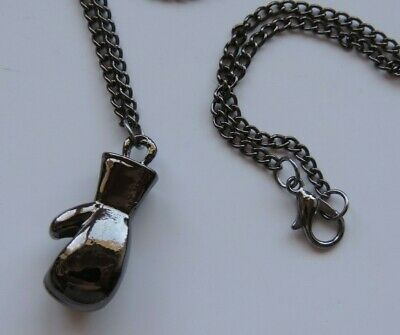 "Boxing Glove Pendant Necklace Mens & Boys 24"" chain Gun Metal Glossy Finish"