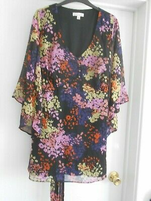 """""""Simply Be"""" Beautiful Black Floral Chiffon Tunic Top Size 20 New!!!"""