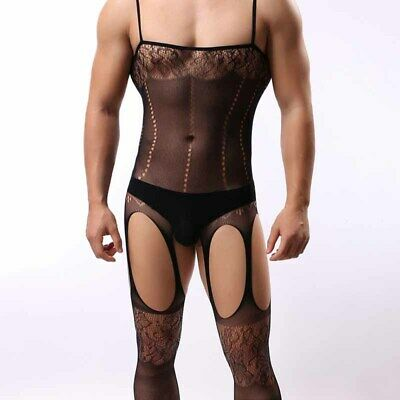 Uomo Sexy Noodle Cinturino Intimo Aperto Body-Stocking Tight Tuta Solido Erotic