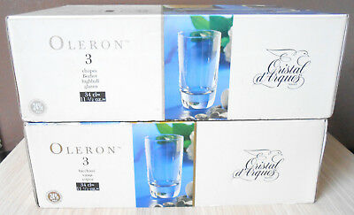 6 Verres Chopes en Cristal d'Arques 34cl Oleron Made in France Crystal Glasses