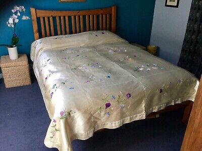 Antique Bedspread Embroidered Heavy Silk Hand Made Hand Embroidered Silk Lined