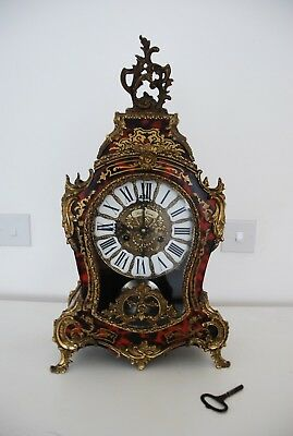 Stunning Large nicely inlaid red Boulle clock late 19 Century French style