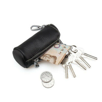 Unisex Mini Purse Leather Coin Card Key Ring Wallet Pouch Zipper Change Bag