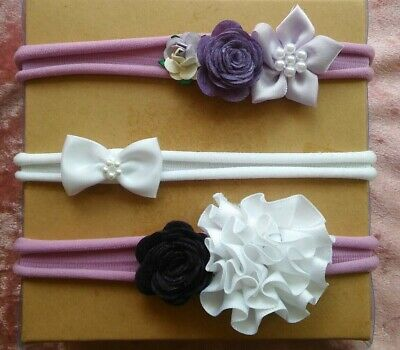 Baby elastic Headbands stretch nylon hairbands set of 3 purple lilac Flowers Bow