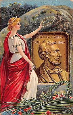 Abraham Lincoln Tribute Embossed C Chapman Series 51658 Woman holding Crown