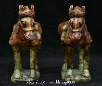"""8"""" Old Chinese Ancient Jade Dynasty Carved Tang War Horse Animal Statue Pair"""