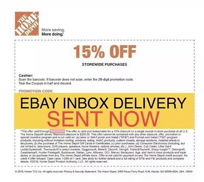 ONE 1x Home Depot 15% Off-1coupon- In Store Only -saving 200$ max 5/13/19