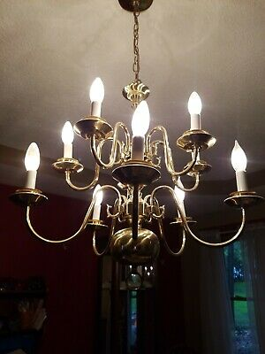Vintage Colonial 10 Arm LIGHTS Brass Chandelier Candlestick Reproduction 22""