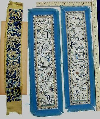 3 Antique Chinese silk handmade embroidery panels