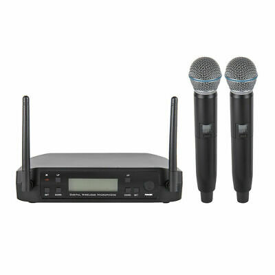UHF Dual Channel Wireless Handheld Microphone Mikrofone System for Karaoke Stage