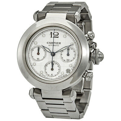 Pre-owned Cartier Pasha Chronograph Automatic White Dial PRE-CRTW31039M7