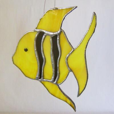 "Vintage ""Yellow Angel Fish"" Picture Stained Glass Leaded Panel: Suncatcher:"