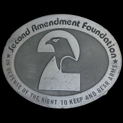 Vtg Second 2nd Amendment Foundation Right To Keep And Bear Arms Belt Buckle
