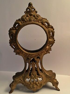 ANTIQUE Art Nouveau Victorian CAST METAL French Ornate Gold CLOCK CASE 12.5""