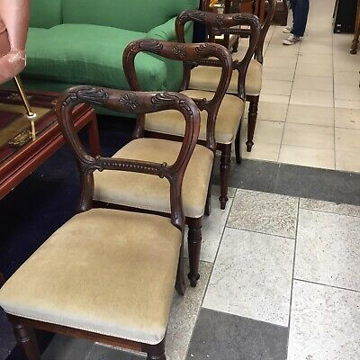 Set Of Four Superb William The Fourth Rosewood Dining Chairs With Carved Details