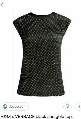 2adc5ba3b4ac4b Versace at H & M Little Black Gold Studded Party Silk Top Size UK 8 US