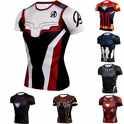 Mens Marvel the Avengers Shirt 3D Print Cosplay Short Sleeve Top Spandex Dry fit