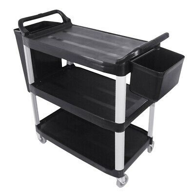 SOGA 3 Tier Food Trolley Food Waste Cart With Two Bins Storage Kitchen Large