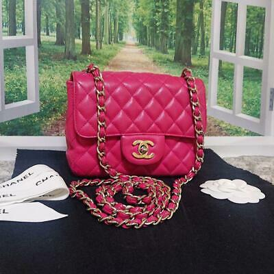 05779488db3d Auth CHANEL Chain Shoulder Bag Pink Mini Matelasse Flap Leather Crossbody  B0208