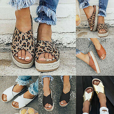 Women's Ladies Summer Causal Platform Espadrilles Leopard Print Shoes Flip Flops