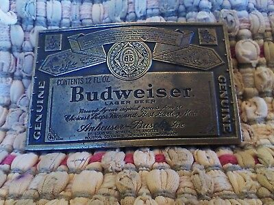 Budweiser belt buckle brass NEW vintage 1970