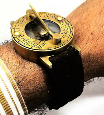 STEAMPUNK 40 mm SOLID BRASS SUNDIAL COMPASS WRIST WATCH SOLAR WONDER