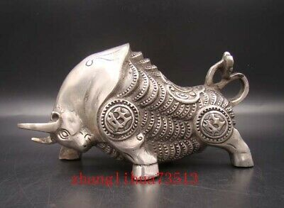 200mm Collectible Handmade Carved Statue Copper silver Ox cattle Bull Deco Art