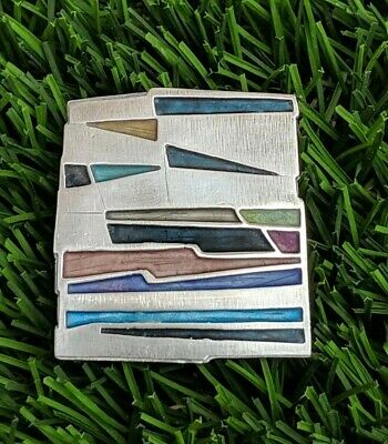 Carly Wright Sterling Silver Colorful Enamel Abstract Modernist Brooch Pin