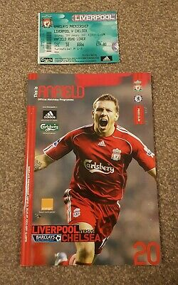 Liverpool  V Chelsea Premiership Football Programme 2007 & Ticket 20/01/07