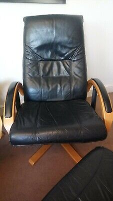 Danish Vintage retro unico Leather swivel recliner chair and footstool.