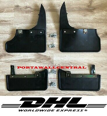 Fits:vw T5 Transporter Front And Rear Black Mud Flaps Set 4Pcs With Bracket