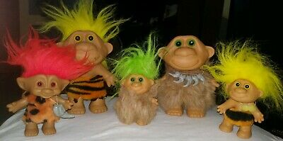 Caveman Trolls 5 Figure Lot 2 7in And 3 4in One No Hair Other Loose Hair