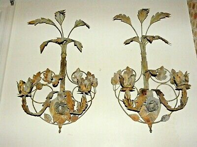 Antique Pair Hand Forged Architectural Wrought Iron Sconces /Candle  24""