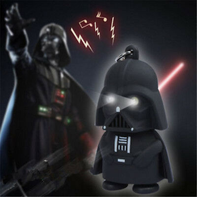 Cool Light Up White LED Star Wars Darth Vader With Sound Keyring Keychain Gift