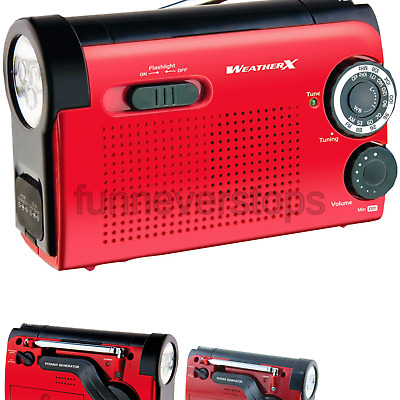 Weather X WR182R NOAA Weather Band and AM/FM Radio Flashlight with Dynamo Han...