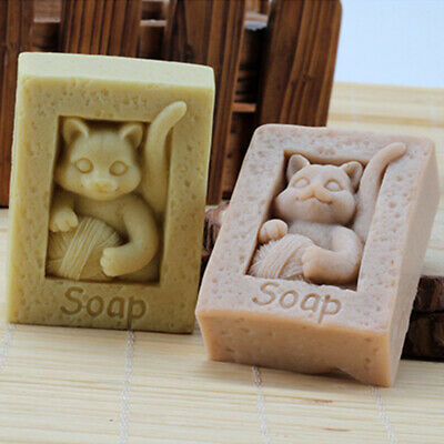 Cat Silicone Soap Mold Flexible Craft Soap Making Mould Candle DIY Handmade Mold