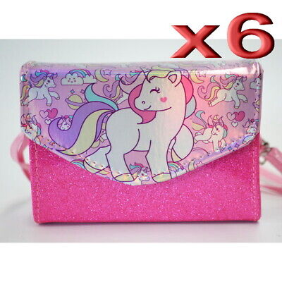 6pc Wholesale Kids Children Girls Unicorn Long Crossbody Handbag Shoulder Bags