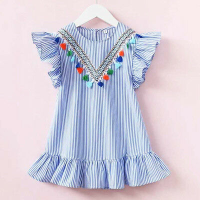 Toddler Kids Baby Girl Stripe Ruffle Party Summer Dress Sundress Outfits Clothes