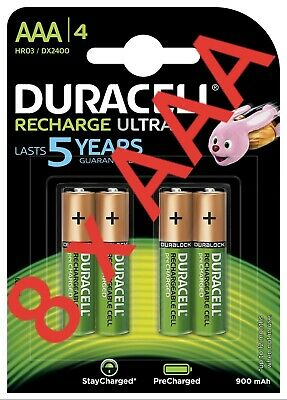 8 x Duracell AAA Ultra Rechargeable Batteries DURALOCK  900mAh Free Postage P&P