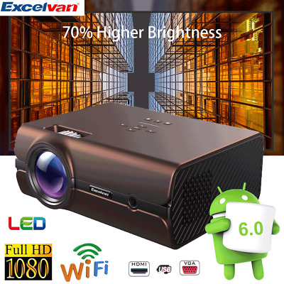 1080p HD Projector Home Cinema WiFi Movie Video  BT 4.0 HDMI Smart Android