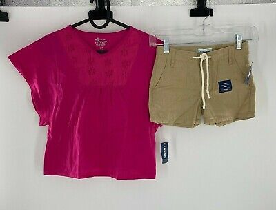 Old Navy Girls 2-Piece Outfit Set Shirt and Shorts Adjustable Waist Size 6-7