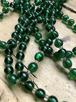 Vintage Art Deco ? Green Glass Bead Very Long Necklace In Good Vintage Cond