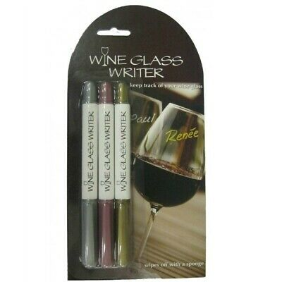 Wine Glass Writer Pens Erasable Markers Black Gold Silver Or