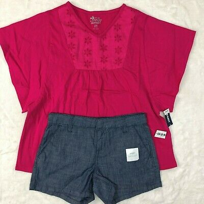 Old Navy Girls 2-Piece Outfit Set Shirt and Shorts Adjustable  Denim Size 10