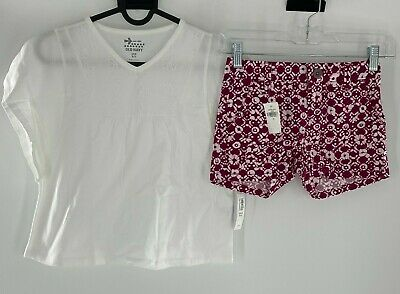 Old Navy Girls 2-Piece Outfit Set Shirt and Shorts Adjustable Size 6