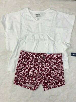 Old Navy Girls 2-Piece Outfit Set Shirt and Shorts Adjustable Size 5